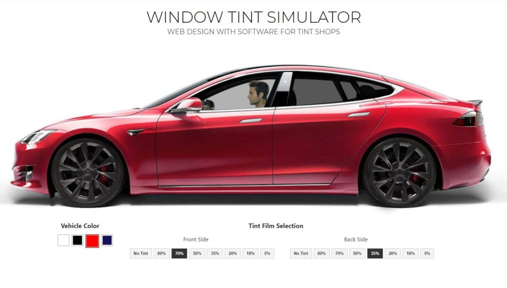 Window Tint Website Design with Tint Simulator Software